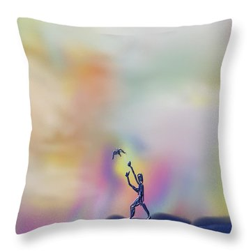 Throw Pillow featuring the painting Letting Go by Kevin Caudill