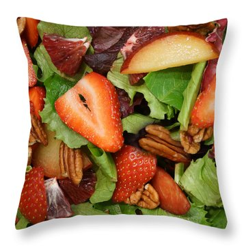Throw Pillow featuring the digital art Lettuce Strawberry Plum Salad by Jana Russon