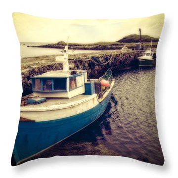 Throw Pillow featuring the photograph Leverburgh Harbour Outer Hebrides by Ray Devlin