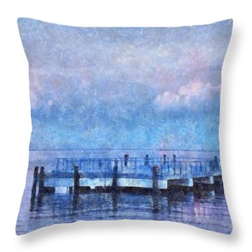 Throw Pillow featuring the mixed media Lewes Pier by Trish Tritz