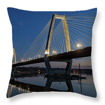Throw Pillow featuring the photograph Lewis And Clark Bridge - D009999 by Daniel Dempster