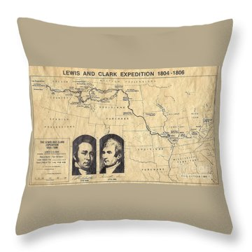 Lewis And Clark Expedition Map Throw Pillow