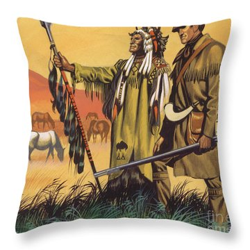 Lewis And Clark Expedition Scene Throw Pillow
