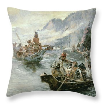 Lewis And Clark On The Lower Columbia River Throw Pillow by Charles Marion Russell