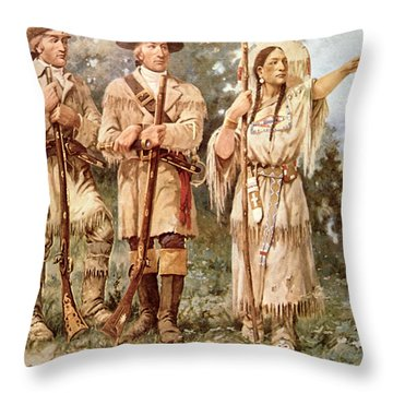 Lewis And Clark With Sacagawea Throw Pillow
