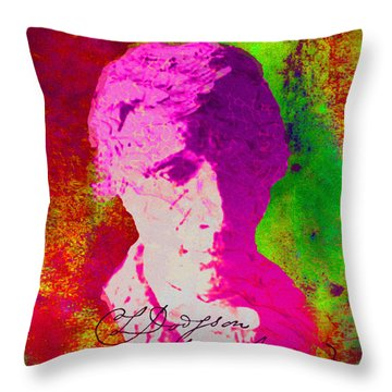 Throw Pillow featuring the digital art Lewis Carroll by Asok Mukhopadhyay