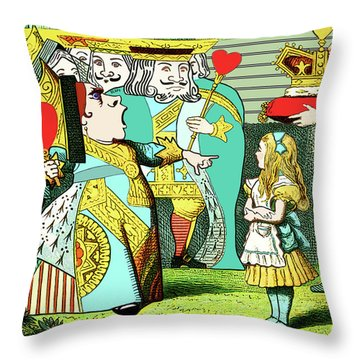 Lewis Carrolls Alice, Red Queen And Cards Throw Pillow