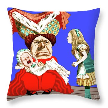 Throw Pillow featuring the painting Lewis Carrolls Alice, Red Queen And Crying Infant by Marian Cates