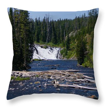Lewis Falls Yellowstone Throw Pillow