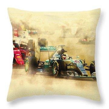 Lewis Hamilton Leads Again Throw Pillow
