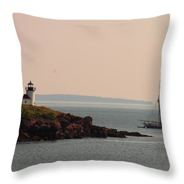Lewis R French At The Curtis Island Lighthouse Throw Pillow