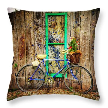 Throw Pillow featuring the photograph Lewistown Garden Bicycle by Craig J Satterlee