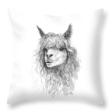 Throw Pillow featuring the drawing Lexi by K Llamas