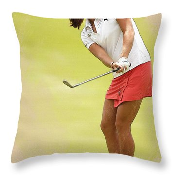 Lexi Thompson Chips To The First Green  Throw Pillow