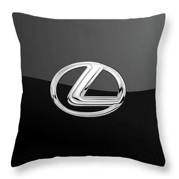 Lexus - 3d Badge On Black Throw Pillow by Serge Averbukh