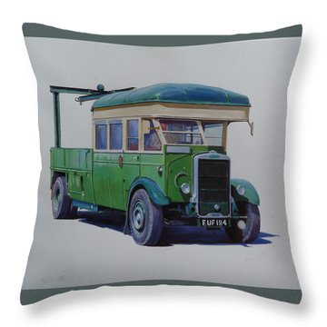 Leyland Southdown Wrecker. Throw Pillow by Mike Jeffries
