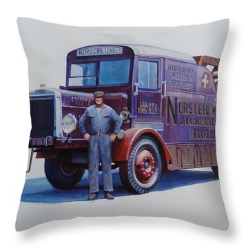 Throw Pillow featuring the painting Leyland Wrecker 1930. by Mike  Jeffries