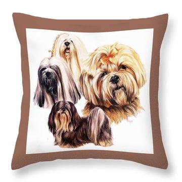 Lhasa Apso Throw Pillow by Barbara Keith
