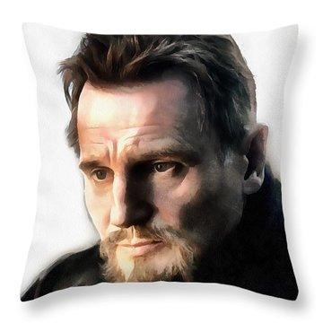 Liam Neeson Throw Pillow by Sergey Lukashin