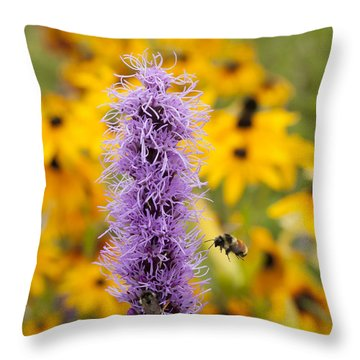 Liatris And The Bees Throw Pillow