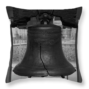 Throw Pillow featuring the digital art Liberty Bell Bw by Chris Flees