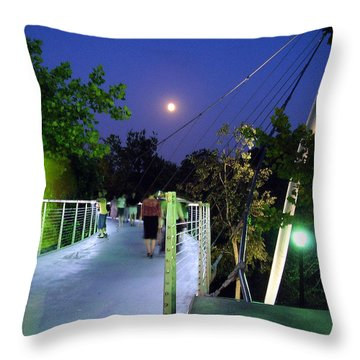 Liberty Bridge At Night Greenville South Carolina Throw Pillow by Flavia Westerwelle