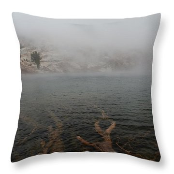 Liberty Lake In Fog Throw Pillow
