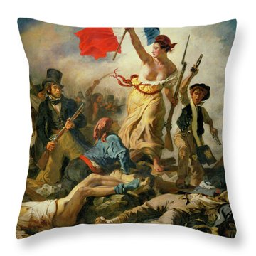 Throw Pillow featuring the painting Liberty Leading The People By Eugene Delacroix 1830 by Movie Poster Prints