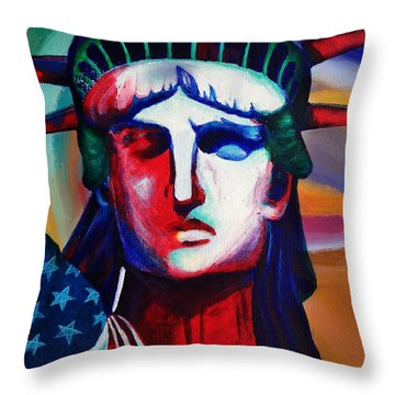 Liberty Of Statue New York 98jhm Throw Pillow by Gull G