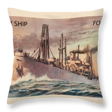 Liberty Ship Stamp Throw Pillow by Heidi Smith