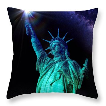 Throw Pillow featuring the painting Liberty Sky by Mark Taylor