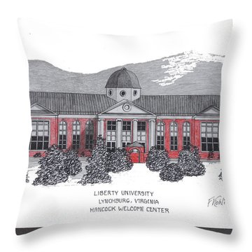 Libertyu - Hancock Welcome Ctr Throw Pillow by Frederic Kohli