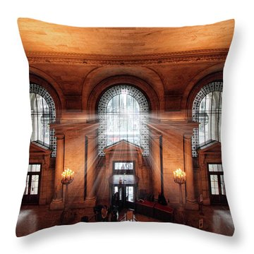 Throw Pillow featuring the photograph Library Entrance by Jessica Jenney
