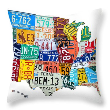 License Plate Map Of The United States Outlined Throw Pillow by Design Turnpike