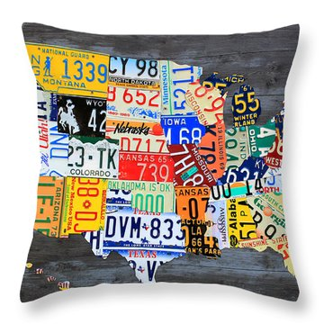 License Plate Map Of The Usa On Gray Distressed Wood Boards Throw Pillow