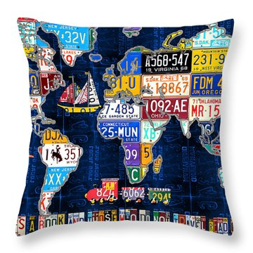 License Plate Map Of The World Travel Recycled Vintage Art With Augustine Quote Throw Pillow