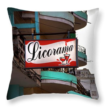 Throw Pillow featuring the photograph Licorama Bar Liquor Store In Havana Cuba At Calle 6 by Charles Harden