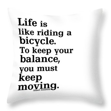 Life And A Bicycle - Einstein In Black Throw Pillow
