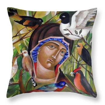 Life And Birds Throw Pillow