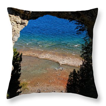 Life Below Arch Rock Throw Pillow