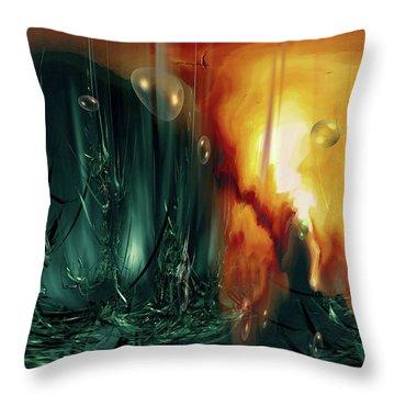 Throw Pillow featuring the digital art Life Form Ends by Linda Sannuti