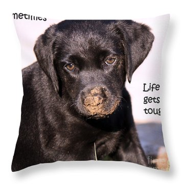 Life Gets Tough Throw Pillow by Cathy  Beharriell