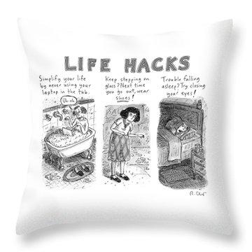 Life Hacks Throw Pillow