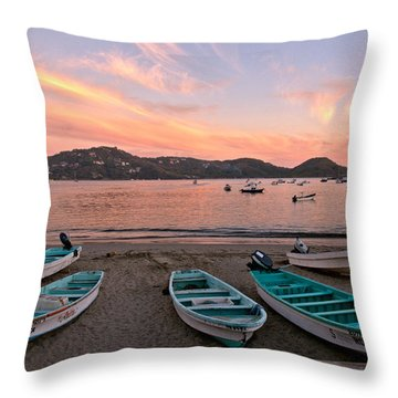 Life In A Fishing Village Throw Pillow by Jim Walls PhotoArtist