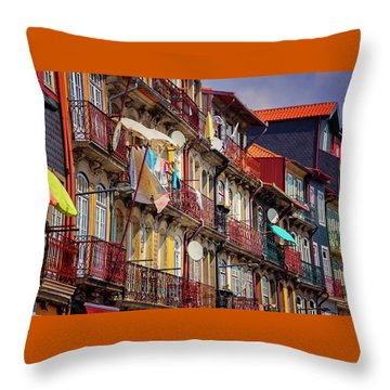 Throw Pillow featuring the photograph Life In Ribeira Porto  by Carol Japp