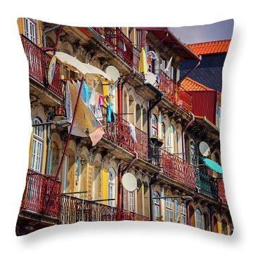 Life In Ribeira Porto  Throw Pillow
