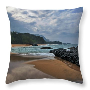 Throw Pillow featuring the photograph Life Is A Beach And Then You Die? Lumahai Beach, Kauai, Hawaii by Sam Antonio Photography