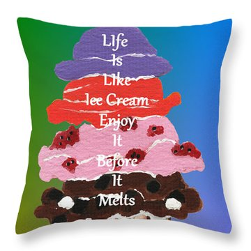 Throw Pillow featuring the painting Life Is Like Ice Cream by Kathleen Sartoris