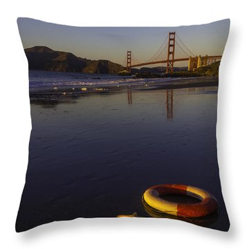 Life Ring And Starfish Throw Pillow