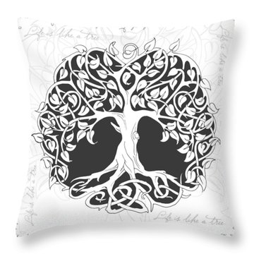 Throw Pillow featuring the digital art Life Tree. Life Is Like A Tree by Gina Dsgn